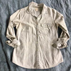 J. Crew Perfect Shirt Grey Marled Cotton